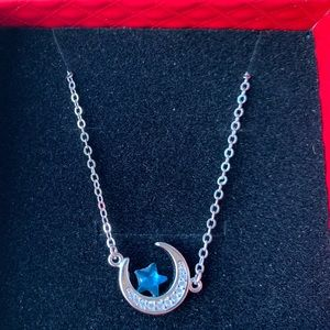 925 sliver Zircon moon blue star necklace